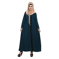 Front open Zari work abaya- Teal Green