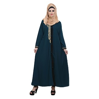 Front open Zari work abaya- Teal Green