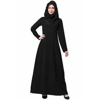 A-line inner abaya with a complementary Hijab- Black