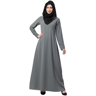 A-line inner abaya with a complementary Hijab- Grey