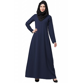A-line inner abaya with a complementary Hijab- Navy Blue