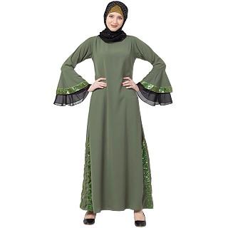 A-line abaya with Black sequins work- Jade Green