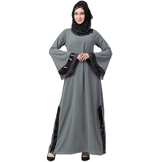 A-line abaya with Black sequins work- Grey