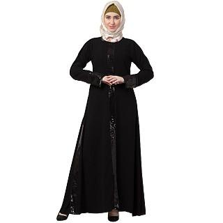 Designer abaya with sequins work- Black