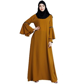 Bell sleeves abaya with stone sequins work- Mustard brown