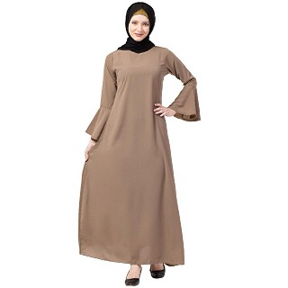 Casual A-line abaya with bell sleeves- Beige