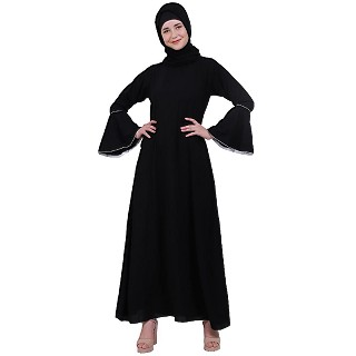 Casual A-line abaya with bell sleeves- Black