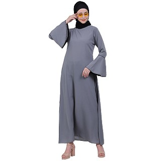 Casual A-line abaya with bell sleeves- Grey