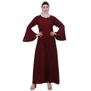 Casual A-line abaya with bell sleeves- Maroon