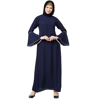 Casual A-line abaya with bell sleeves- Navy Blue