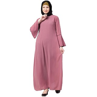 Casual A-line abaya with bell sleeves- Puce Pink