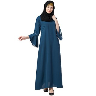 Casual A-line abaya with bell sleeves- Teal Green