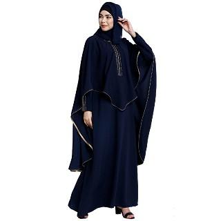 Cape abaya with stone lacework- Navy Blue