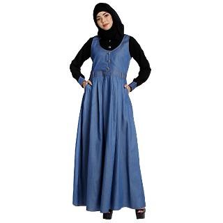 Classic Denim maxi dress with shirt collar- Black-Blue