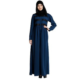 Casual collared abaya with lacework- Teal