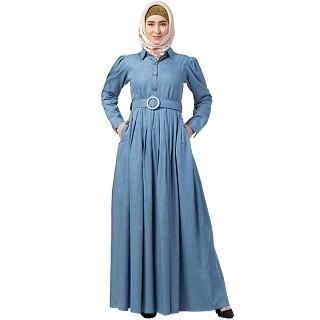 Premium Denim abaya with cuff sleeves