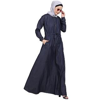 Fashionable Zipper Denim abaya