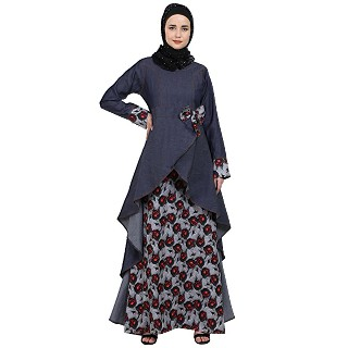 Denim asymmetrical dress abaya