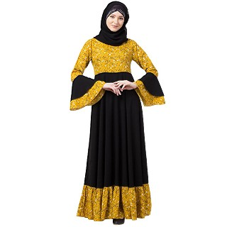 Printed Frilled abaya- Mustard-Black