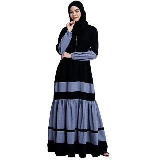 Designer maxi dress abaya- Black-Grey Dot