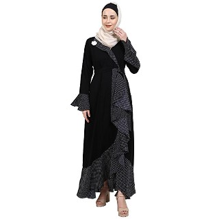 Designer abaya with polka dotted frills- Black