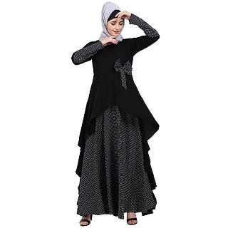 Wholesale abayas/burqas - Polka dotted asymmetrical design