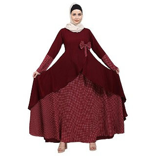 Polka dotted asymmetrical dress abaya- Maroon