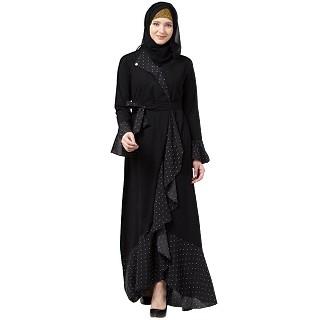 Designer black polka dotted frilled abaya
