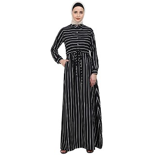 Striped abaya with collar- Black-White