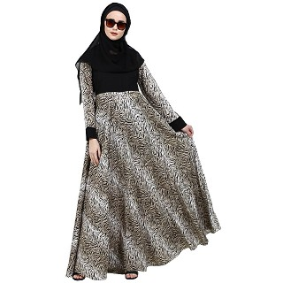 Animal printed dual colored abaya