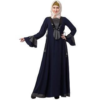 Designer abaya with sequins work- Navy Blue