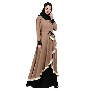 Dual colored Designer abaya- Beige-Black