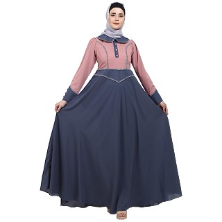 Dual colored abaya with Baby collar- Pink-Grey