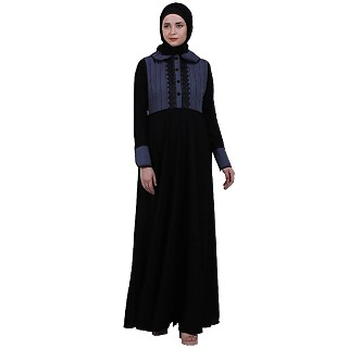 Dual colored abaya with Baby collar- Black-Grey
