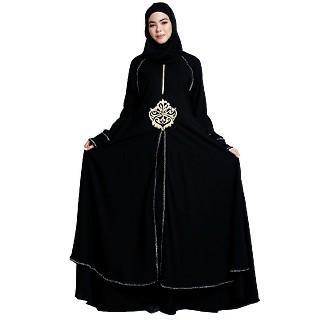 Designer double layered abaya with stone lacework- Black