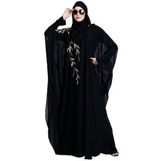 Designer double layered abaya with embroidery work- Black