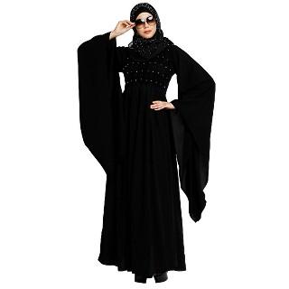 Full flair sleeves abaya with moti work - Black
