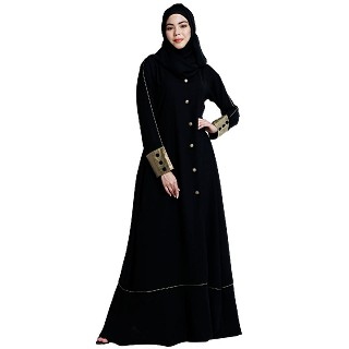 Designer abaya with fashionable buttons-Black