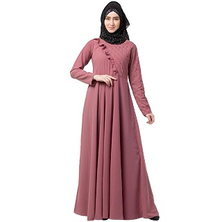 Designer Umbrella abaya with pearl handwork- Puce Pink