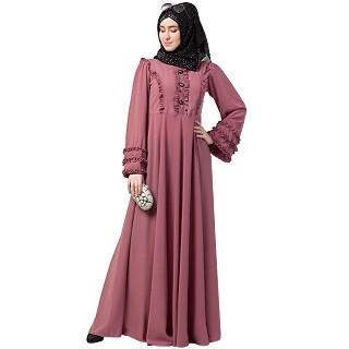 Designer Umbrella abaya with frill work- Puce Pink
