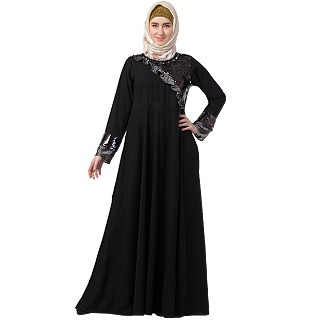 Premium Party wear abaya with sequins work- Black