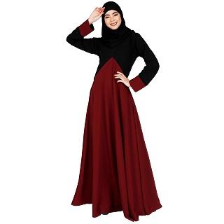 Dual color umbrella abaya-Maroon-Black