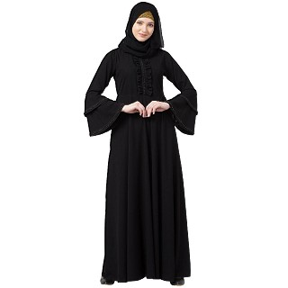 Designer Black Umbrella abaya with bell sleeves