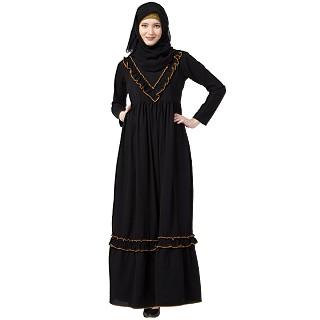Designer Black Umbrella abaya