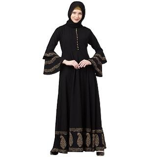 Designer printed Umbrella abaya- Black