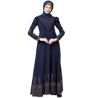 Designer printed Umbrella abaya with handwork- Navy Blue