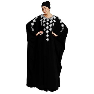 Designer Dubai kaftan abaya with embroidery work- Black