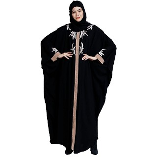 Front open kaftan with embroidery work- Black