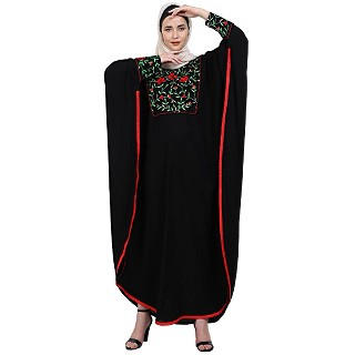 Indo classic Kaftan with embroidery work- Black