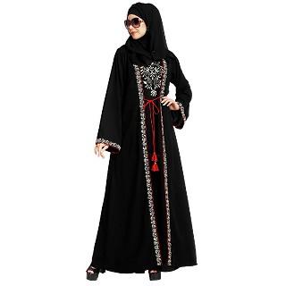 Layered abaya with embroidery work-Black